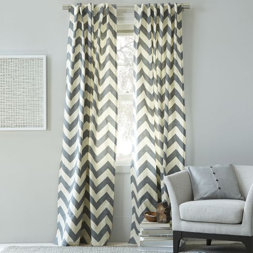 Cotton Canvas Zigzag Curtain Feather Gray Awesome Decor