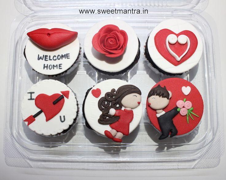 Valentine, Love theme personalized, designer, fondant cupcakes for husband's onsite return at Wakad, Pune