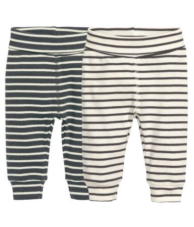 CONSCIOUS. Striped leggings in soft organic cotton jersey with wide foldover ribbing at waist and ribbed hems.