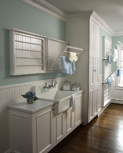 Sherwin williams rainwashed home decor pinterest Laundry room drying rack ideas