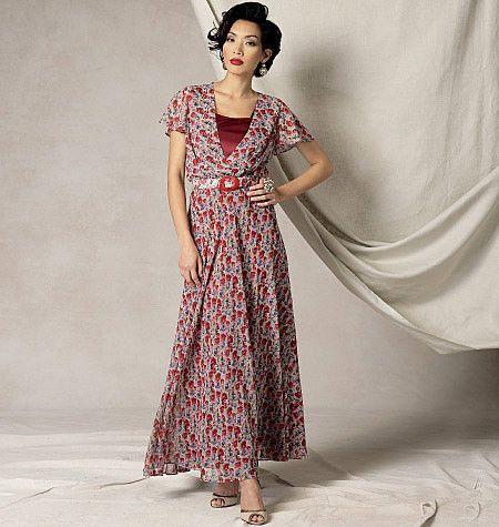 V9168 Misses' Flutter-Sleeve Dress, Belt and Slip