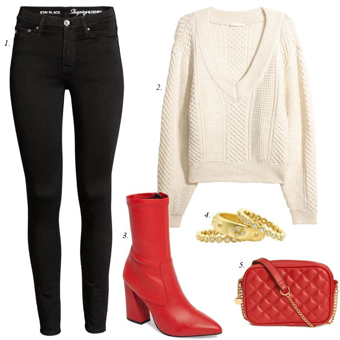 cozy winter outfit, quilted bag, cozy sweater, red boots, stuart weitzman, black skinny jeans, wardrobe stylist, mix and match, capsule collection