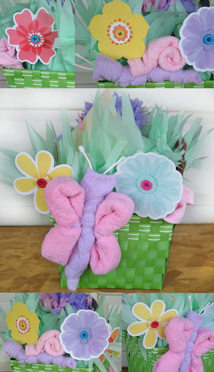 Baby Basket idea- I made this little baby basket using dollar store items (basket, flowers, tissue paper and styrofoam (in bottom of basket). Then used part of the present (wash cloths) to create the butterfly and snail. It was a lot of fun to put together.  http://www.facebook.com/wattoonline