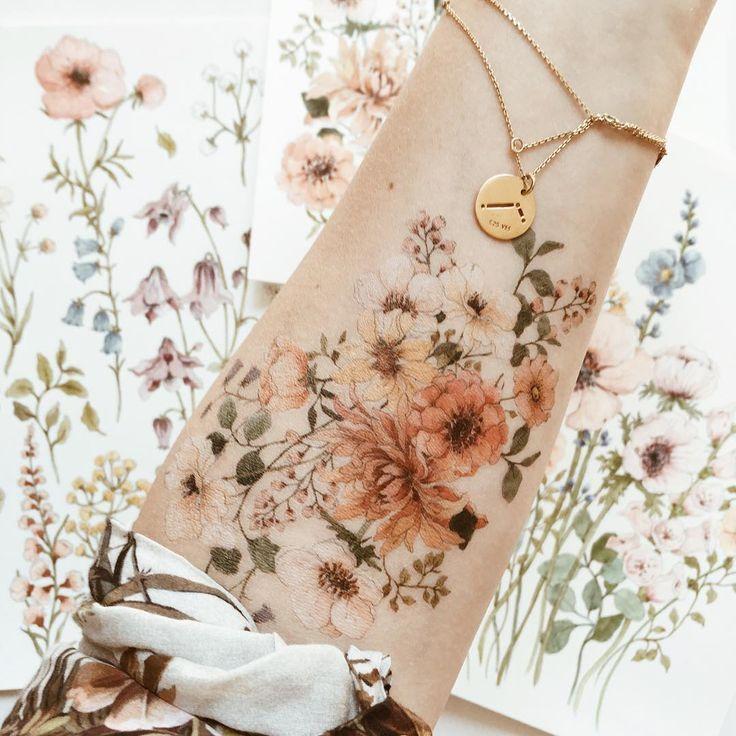 Meine Blumen Tattoo # Tattoo # Flowerstattoo # temporäre Tätowierung # Blumen # Zeichnung # wa #ta … #flowertattoos