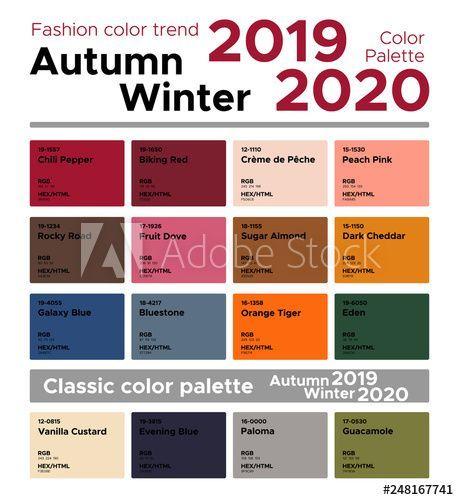 Fashion color trend Autumn Winter 2019-2020 and classic color palette. Palette f