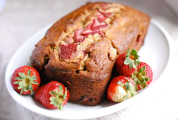 Whole Grain Strawberry Banana Bread   10 Homemade Bread Recipes That Will Satisfy Your Sweet Tooth by Homemade Recipes at http://homemaderecipes.com/cooking-101/10-homemade-bread-recipes/