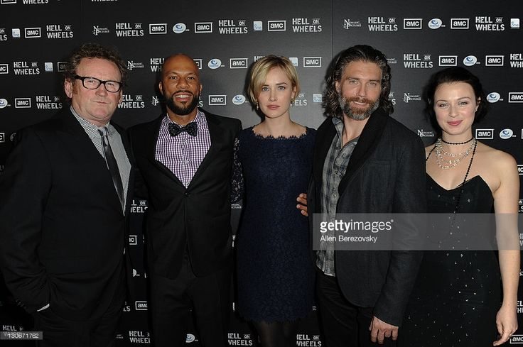 Actors Colm Meaney, Common, Dominique McElligott, Anson Mount and Robin McLeavy arrive at the AMC's 'Hell On Wheels' Los Angeles premiere at L.A. LIVE on October 27, 2011 in Los Angeles, California.