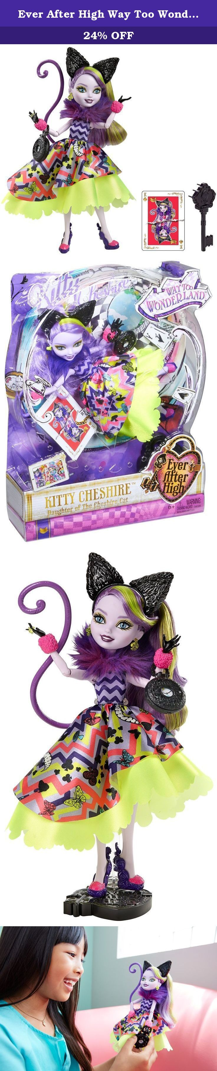 "Ever After High Way Too Wonderland Kitty Chesire Doll. Shut the storybooks you thought you knew because at Ever After High, you can Choose Your Own Ever After! For these teenage sons and daughters of the most famous fairytales ever, every day can turn into an epic day. In the epic Netflix Original Series, ""Way Too Wonderland,"" Raven Queen, daughter of the Evil Queen, tries to magically reverse her mother's curse on Wonderland and accidentally transports herself and her friends to…"