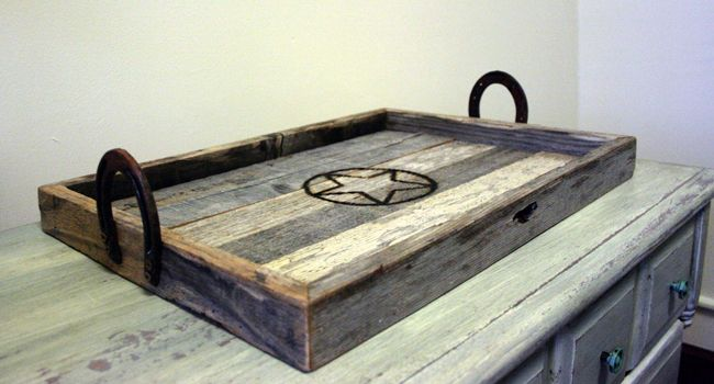 Barnwood Serving Tray w Horseshoe Handles via Cactus Creek