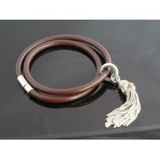 Duo Leather Wrist Strap with Sterling Silver Tassel