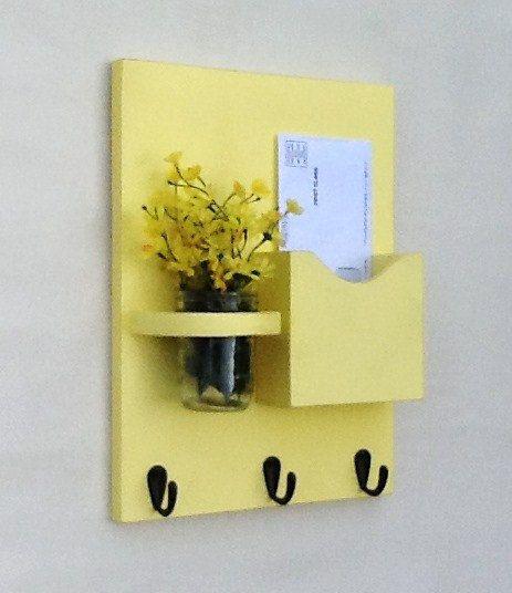 Mail Organizer - Letter Holder - Mail Holder - Key Hooks - Key Rack - Jar Vase - Organizer Yellow via Etsy