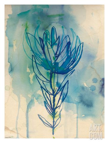 Blue Wash Protea Art Print by Paula Mills at Art.com