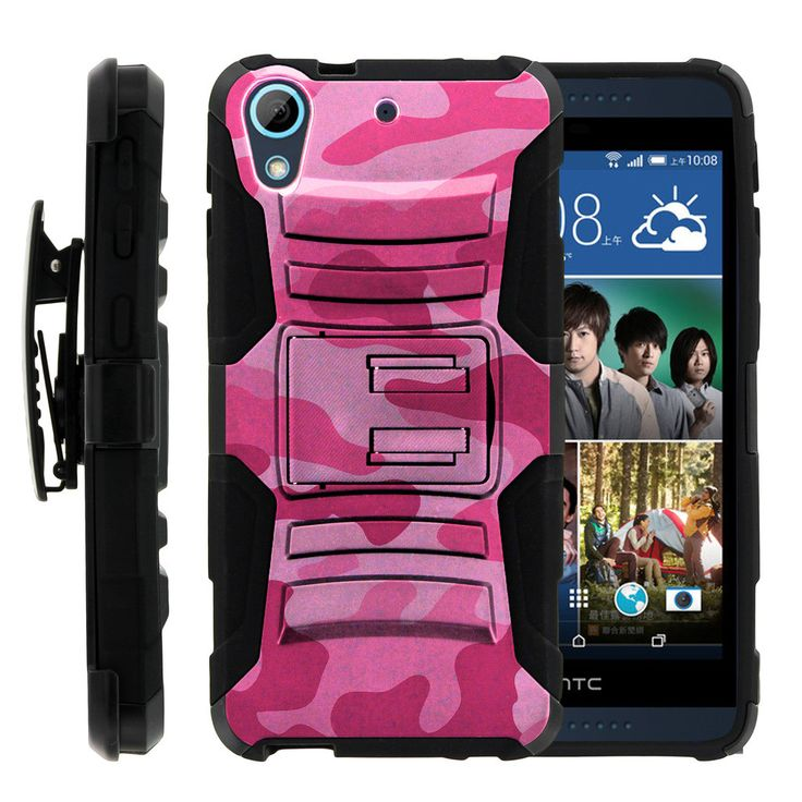 HTC Desire 626, 626s Case CLIP ARMOR, Dual Holster Case with Kickstand- Pink Camouflage