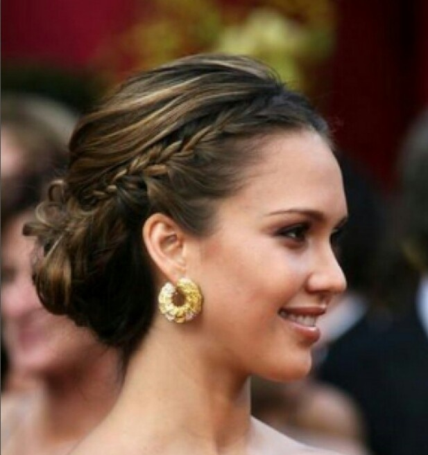 Pretty up-do, though I would want a side-part and probably wouldn't want my bangs braided.