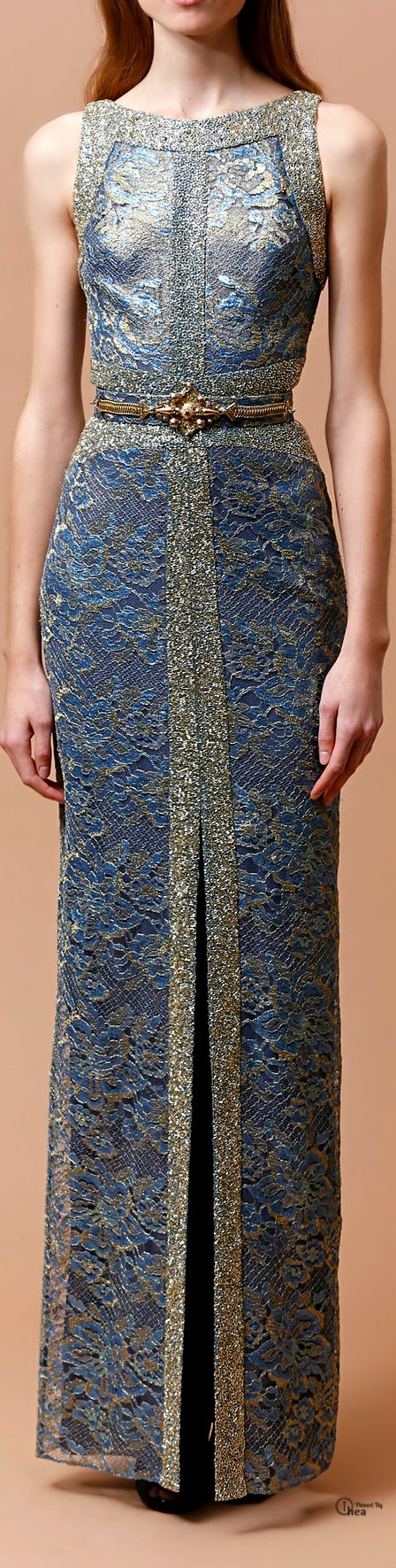 "Badgley Mischka ● Pre-Fall 2014. The original comment is, ""Reminiscent of a caftan!"" I think it looks more like armor."