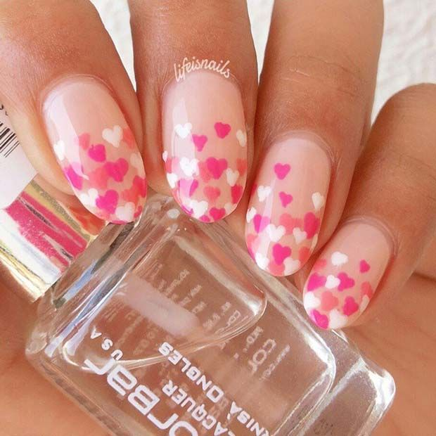Pink and White, Ombre Heart Nail Art Design