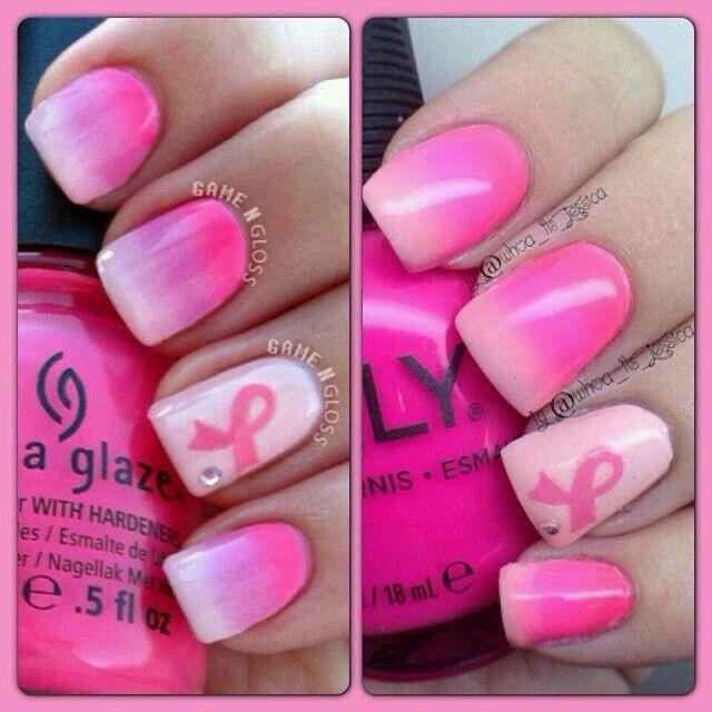 Breast cancer awareness nailart October is breast cancer awareness month show your support! #nailart #nails #breastcancer
