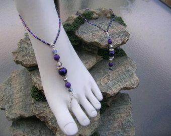 Dark Blue Barefoot Sandals Crystal Bare Foot Sandals Anklet