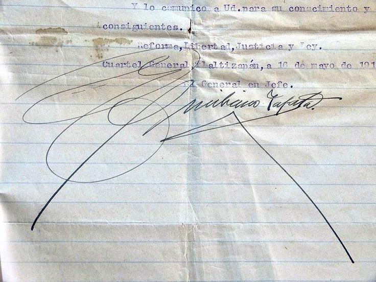 Firma autógrafa de Emiliano Zapata parte del ARCHIVO DEL JEFE DEL EJERCITO DE ORIENTE GENERAL HIGINIO AGUILAR SIGUIENDO LAS INSTRUCCIONES DE EMILIANO ZAPATA MEDIANTE CARTAS FIRMADAS POR SU PUÑO Y LETRA