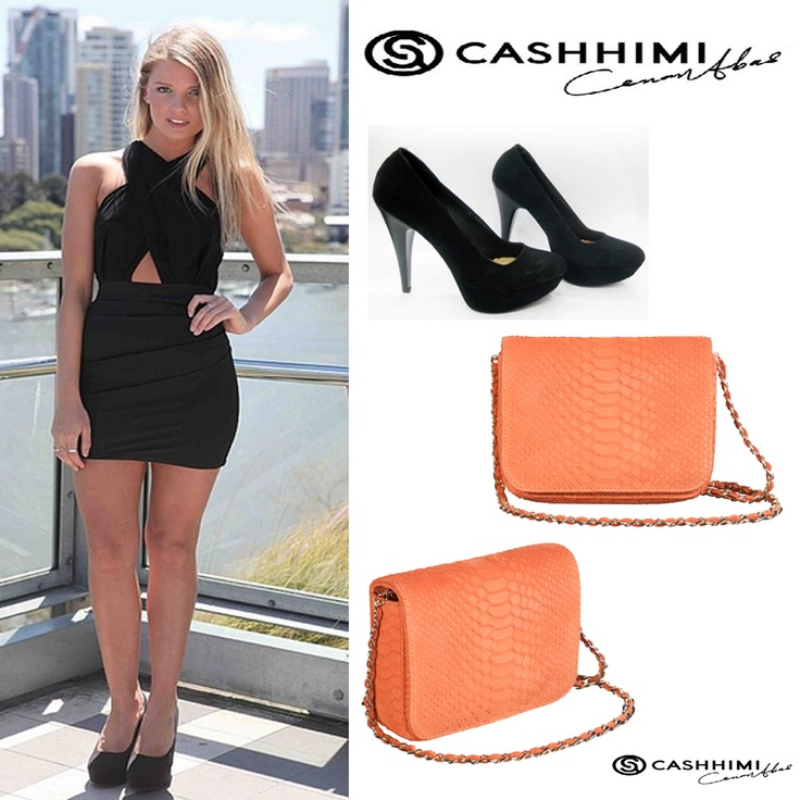 Cashhimi Orange DOWNING  Leather Clutch .