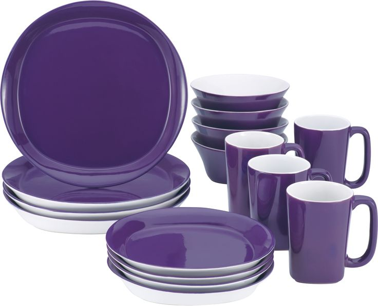 Rachael Ray Round and Square 16 Piece Purple Dinnerware Set, Service for 4