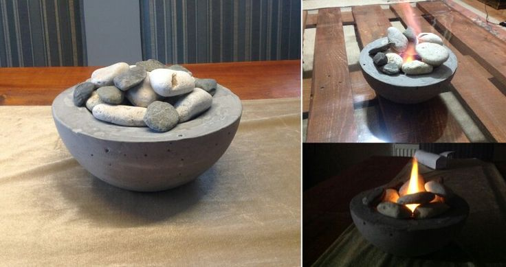 Mini concrete fireplace