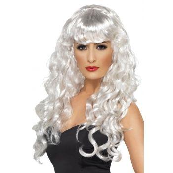 Dames pruik witte krullen  Witte damespruik met gekruld lang haar. Met deze witte dames pruik bent u een opvallende verschijning. Damespruiken in het wit hebben wij in vele varianten.  EUR 14.95  Meer informatie