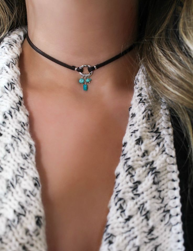 Sterling Silver Turquoise Necklace, Deerskin Leather Choker, Dreamcatcher, Turquoise Choker, Bohemian, Gemstone Necklace, Dangle, Tribal, Om