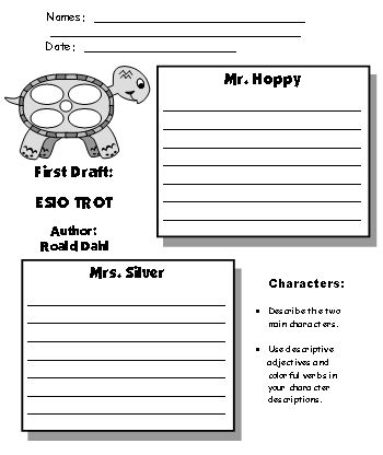 Esio Trot First Draft Printable Worksheets for Fun Group Project Roald Dahl
