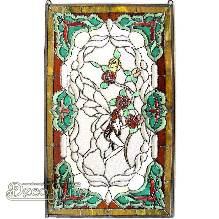 Tiffany Raampaneel Ude Fairy  Een bijzonder mooi Tiffany Raampaneel. Kan ook aan de wand worden gehangen. Helemaal met de hand gemaakt van echt Tiffanyglas. Dit originele glas zorgt voor de warme uitstraling. Met ketting om het paneel op te hangen. Afmetingen: Hoogte: 88 cm Breedte: 53 cm Diepte: 0.7 cm