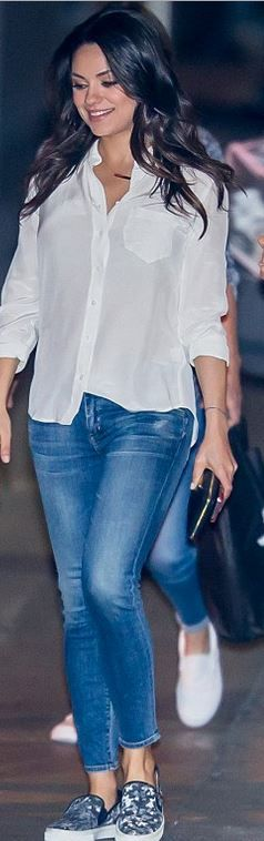 Mila Kunis: Jeans – Goldsign  Necklace – Jennifer Meyer