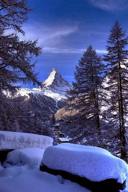 Zermatt, Switzerland and the Matterhorn.  (The mountaintop was hidden by clouds when we were there.)
