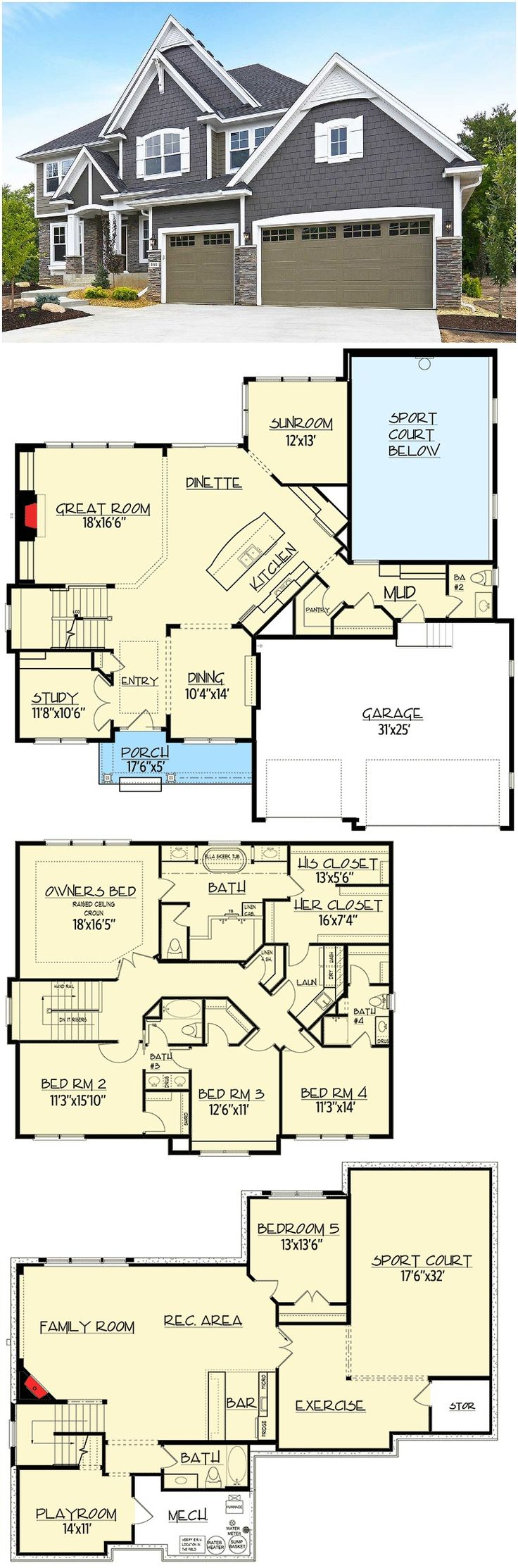 Budget-Friendly 5 Bedroom Sport Court House Plan