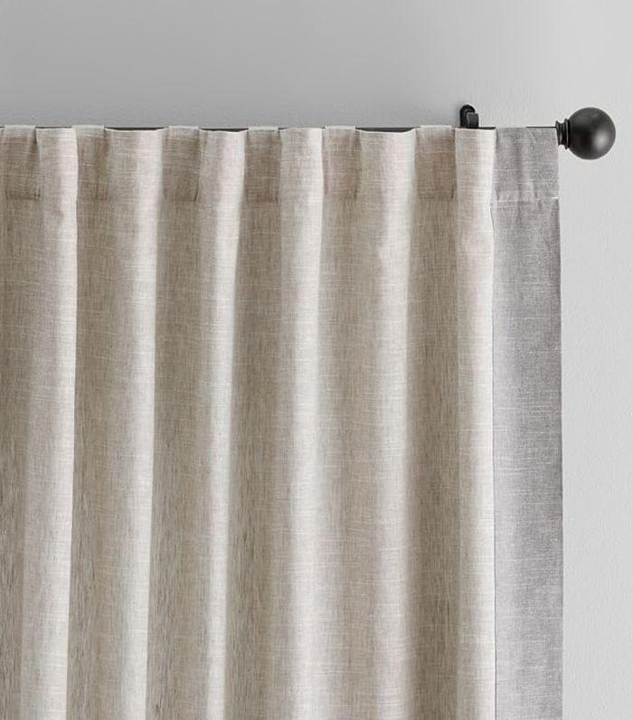 Pottery Barn Emery Frame Border Linen Drape Pinkcurtains Curtains Custom Made Curtains Linen Drapes