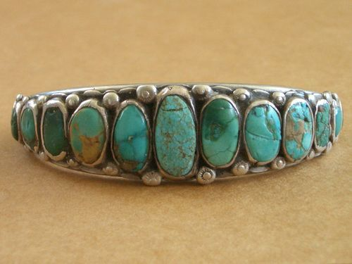 Vintage First Phase Navajo Indian Ingot Silver & Turquoise Bracelet old pawn  from around 1910 - stunning!