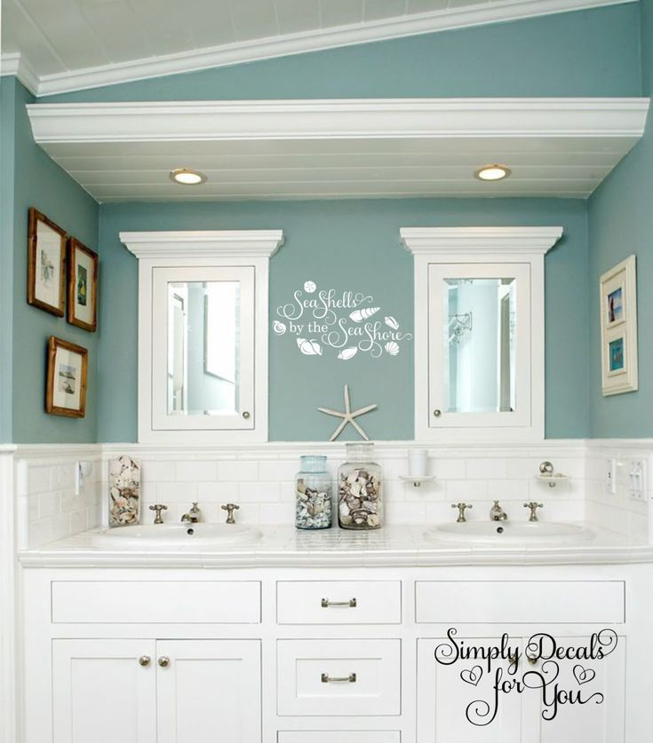 Baños Estilo Nautico:Sea Shells by the Sea Shore Wall Decal, Bathroom Decal, Beach Decal