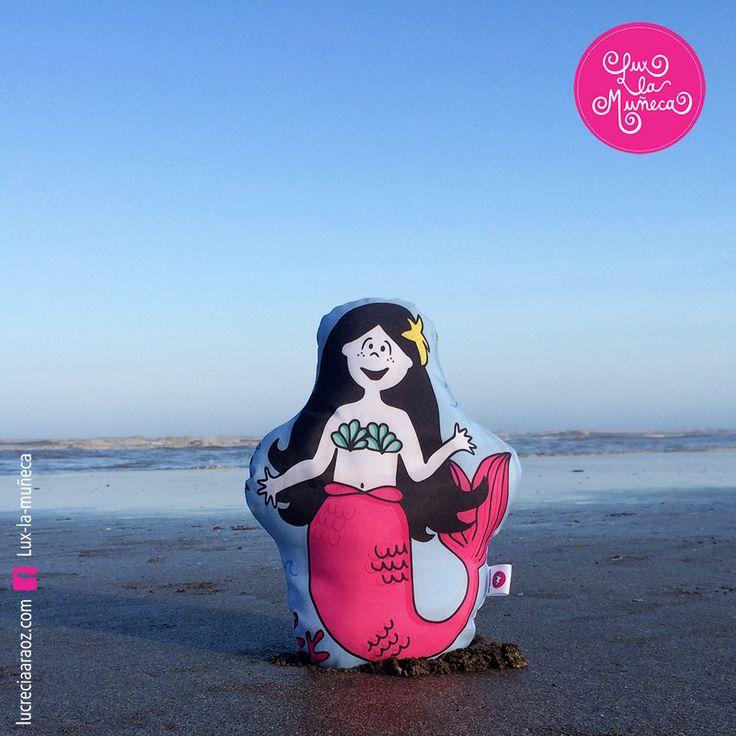 Lux la Muñeca SIRENA.  #ilustracion #illustration #pink #muñeca #deco #kids Facebook: lux la muñeca Ventas : tienda.citarte.net