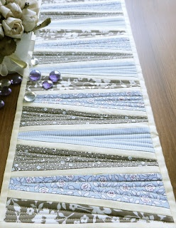 Reflected wedges table runner, modern patchwork magazine