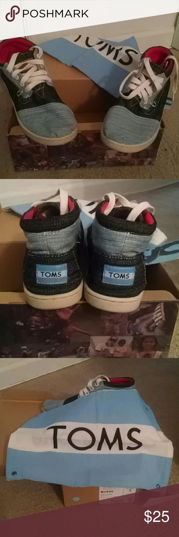 Youth Denim TOMS Kids Comfortable Two Tone Color Denim  with shoe bag Toms Shoes Sneakers