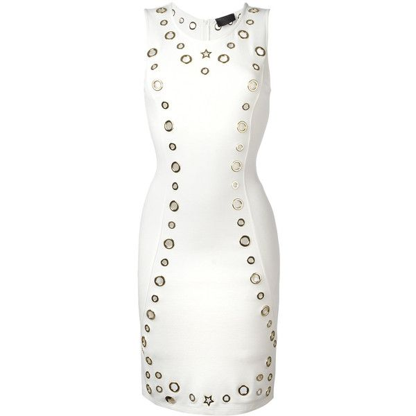 Philipp Plein cut-out detail dress (14.445 ARS) ❤ liked on Polyvore featuring dresses, white, white cut out dress, round neck dress, form fitted dresses, white day dress and form fitting white dress