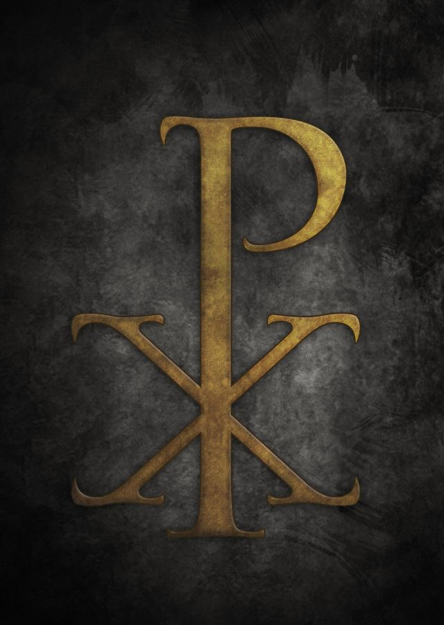 """The labarum (Greek: λάβαρον) was a vexillum (military standard) that displayed the """"Chi-Rho"""" symbol ☧, a christogram formed from the first two Greek letters of the word """"Christ"""" (Greek: ΧΡΙΣΤΟΣ, or Χριστός) — Chi (χ) and Rho (ρ).[1] It was first used by the Roman emperor Constantine the Great. Since the vexillum consisted of a flag suspended from the crossbar of a cross, it was ideally suited to symbolize the crucifixion of Christ."""
