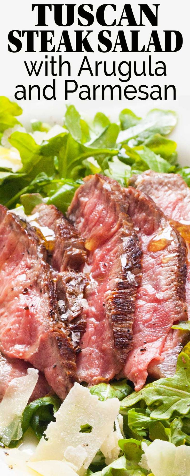 Grilled steak salad with arugula salad and flaky Parmesan Cheese from Frigo! A simple, fresh summer meal in the Italian tradition. Best eaten outside with friends and a bottle of wine. #sponsored
