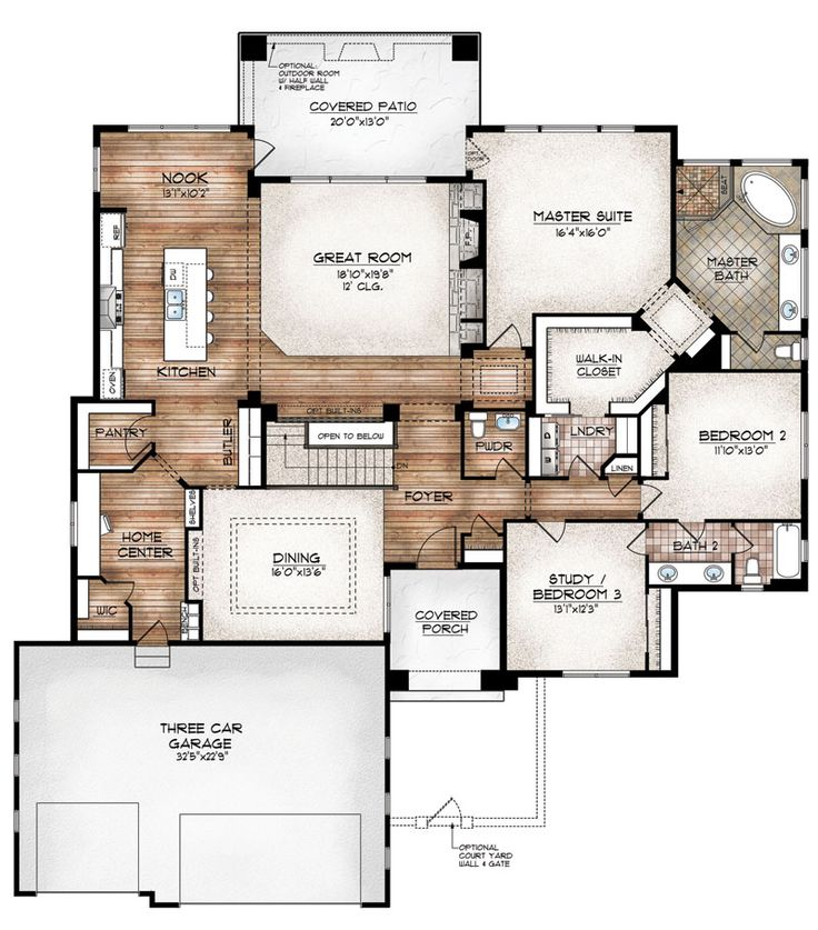 Gallery One like this layout a lot unique master suite nice bathroom size like laundry off master closet and hallway AND like the home center space good for an