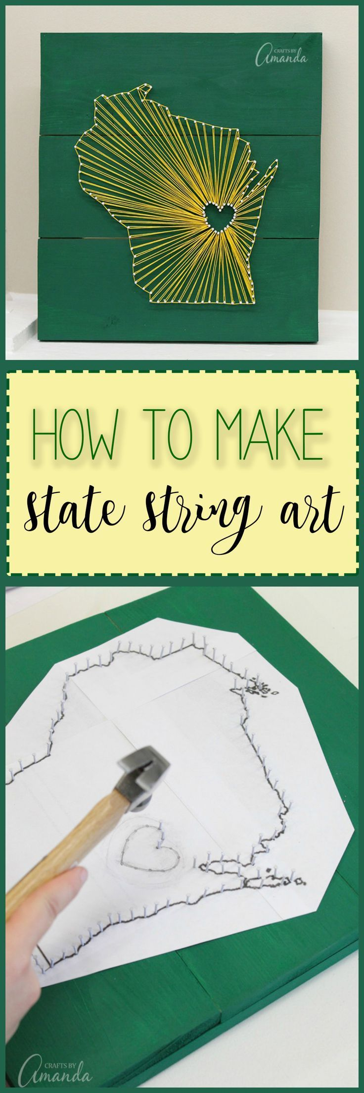 How to make state inspired string art using embroidery floss, small nails, craft glue, and a wooden board. Customize this wall art to your home state! (Small Wood Crafts)