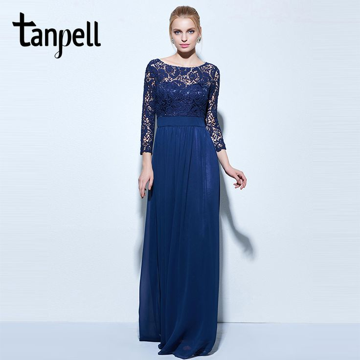 Tanpell long evening dresses dark navy lace 3/4 length sleeves a line floor length gown women bateau chiffon prom evening dress #Affiliate