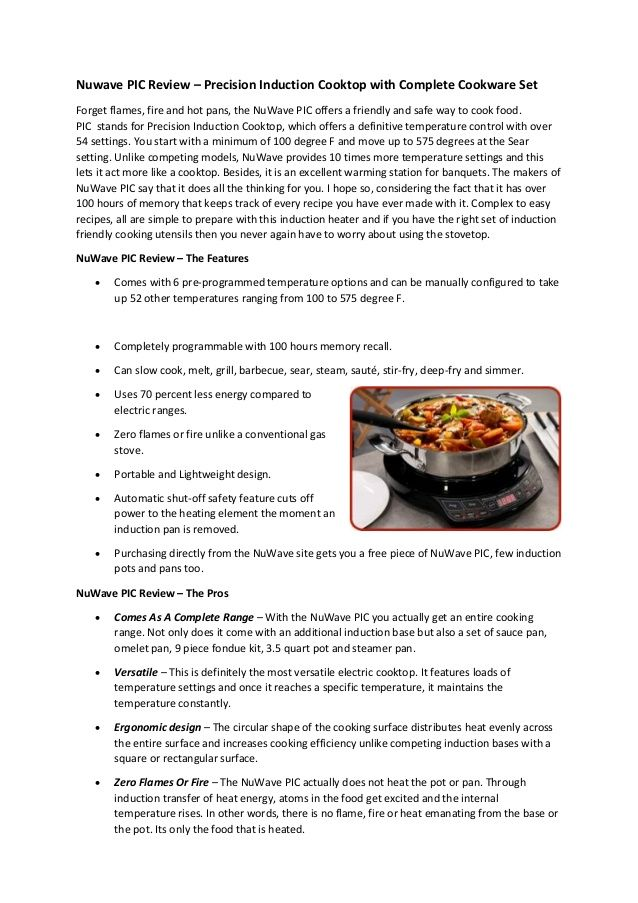 Induction Cooking Temperature Settings ~ Nuwave pic review precision induction cooktop with