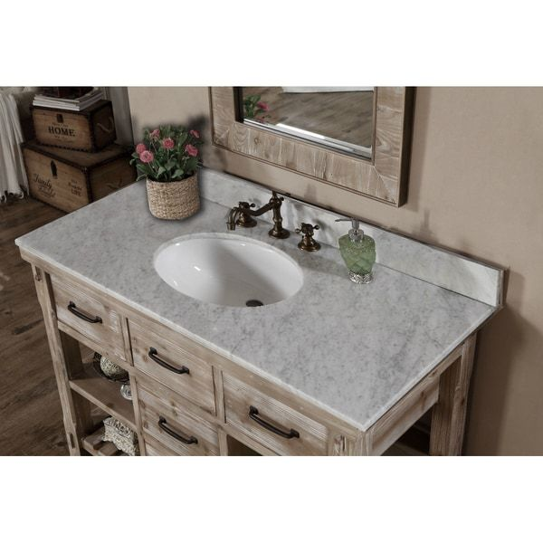 Rustic Style Carrara White Marble Top 48 Inch Bathroom Vanity Pinterest And