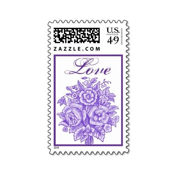Lavender Purple Rose Love Bouquet Postage Stamp ($1) ❤ liked on Polyvore featuring home, home decor, purple home accessories, rose wedding invitations, rose home decor, vintage home accessories and purple wedding invitations