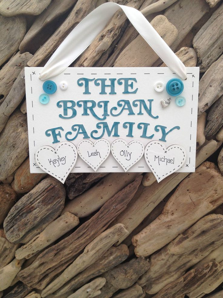 Family Name Personalised Surname Handmade Plaque Sign Hearts Present Gift