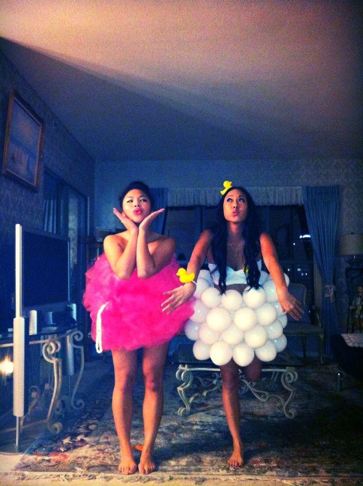 Home made halloween costume! Bubble bath and loofah. Cute idea!